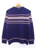 XS★古着 長袖 セーター 80年代 クルーネック 紺 ネイビー 19sep12 中古 メンズ ニット トップス