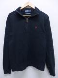 M★古着 長袖 ブランド セーター 90年代 ラルフローレン Ralph Lauren ワンポイントロゴ コットン 黒 ブラック 19sep12 中古 メンズ ニット トップス