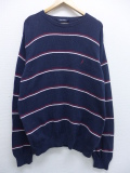 L★古着 長袖 ブランド セーター ノーティカ NAUTICA ワンポイントロゴ コットン 紺 ネイビー ボーダー 19sep12 中古 メンズ ニット トップス