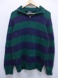XL★古着 長袖 ブランド セーター 90年代 ラルフローレン Ralph Lauren ワンポイントロゴ コットン 緑 グリーン ボーダー 19sep12 中古 メンズ ニット トップス