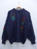 L★古着 長袖 セーター アーガイル 手織り ウール アイスランド製 紺 ネイビー 霜降り 19sep13 中古 メンズ ニット トップス