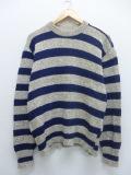 L★古着 長袖 セーター 90年代 ウール USA 薄ベージュ系 カーキ 霜降り ボーダー 19sep13 中古 メンズ ニット トップス