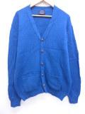L★古着 長袖 ニット カーディガン 80年代 ジャンセン ウール Vネック USA製 青 ブルー 19sep16 中古 メンズ トップス