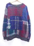 XL★古着 長袖 セーター 手編み クルーネック 青他 ブルー 19sep16 中古 メンズ ニット トップス