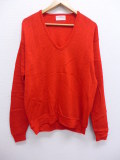 M★古着 長袖 セーター 80年代 Vネック USA製 赤 レッド 19sep16 中古 メンズ ニット トップス