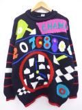 L★古着 長袖 セーター 90年代 時計 野球 黒他 ブラック 19sep16 中古 メンズ ニット トップス