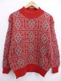 S★古着 長袖 セーター 90年代 デッドストック モックネック ハイネック ウール 赤 レッド 19sep17 中古 メンズ ニット トップス