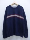 XL★古着 長袖 ブランド セーター トミーヒルフィガー TOMMY HILFIGER コットン 大きいサイズ 紺 ネイビー 19sep18 中古 メンズ ニット トップス