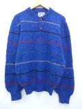 M★古着 長袖 セーター 80年代 クルーネック USA製 青他 ブルー ボーダー 19sep18 中古 メンズ ニット トップス