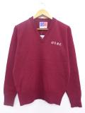 S★古着 長袖 セーター 90年代 ギリシャ文字 デッドストック Vネック USA製 エンジ 19sep19 中古 メンズ ニット トップス