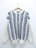 M★古着 長袖 セーター 90年代 3Dニット 白 ホワイト 19sep20 中古 メンズ ニット トップス