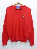 L★古着 長袖 ブランド セーター 90年代 チャンピオン Champion ルイビル Vネック USA製 赤 レッド 19sep20 中古 メンズ ニット トップス