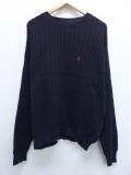 L★古着 長袖 ブランド セーター 90年代 ノーティカ NAUTICA ワンポイントロゴ クルーネック リネン 黒 ブラック 19sep20 中古 メンズ ニット トップス