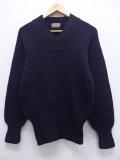 S★古着 長袖 ビンテージ レタード セーター 40年代 ウール Vネック USA製 黒 ブラック 19sep27 中古 メンズ ニット トップス