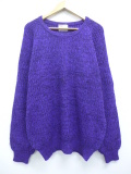 XL★古着 長袖 セーター 80年代 アロー ウール クルーネック 紫 パープル 19oct04 中古 メンズ ニット トップス