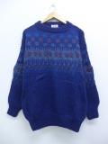 M★古着 長袖 セーター 90年代 手編み ウール モックネック ハイネック デンマーク製 紺 ネイビー 19oct04 中古 メンズ ニット トップス
