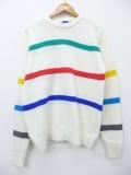 M★古着 長袖 ブランド セーター 80年代 オーシャンパシフィック OP クルーネック 白 ホワイト ボーダー 19oct08 中古 メンズ ニット トップス