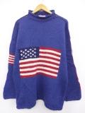 L★古着 長袖 セーター 星条旗 モックネック ハイネック 手編み ウール 青 ブルー 【spe】 19oct09 中古 メンズ ニット トップス
