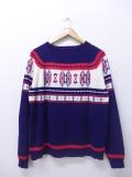 XL★古着 長袖 セーター 80年代 JCペニー クルーネック 紺他 ネイビー 19oct11 中古 メンズ ニット トップス