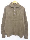 L★古着 長袖 ケーブル セーター 70年代 ウール 茶 ブラウン 19oct15 中古 メンズ ニット トップス