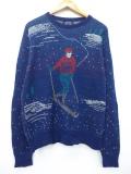 L★古着 長袖 ブランド セーター 80年代 ジャンセン スキー クルーネック USA製 紺 ネイビー 【spe】 19oct15 中古 メンズ ニット トップス