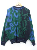 L★古着 長袖 ビンテージ セーター 90年代 柄 クルーネック 青系他 ブルー 19oct15 中古 メンズ ニット トップス