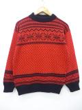 M★古着 長袖 ビンテージ ノルディック セーター 90年代 雪柄 モックネック ハイネック USA製 赤 レッド 19oct15 中古 メンズ ニット トップス