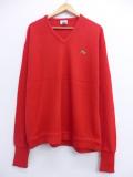 XL★古着 長袖 セーター 90年代 ラコステ LACOSTE ワンポイントロゴ Vネック USA製 赤 レッド 19oct15 中古 メンズ ニット トップス