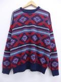 XL★古着 長袖 セーター 90年代 ジャンセン ネイティブ柄 ラグ柄 クルーネック USA製 赤 レッド 19oct15 中古 メンズ ニット トップス