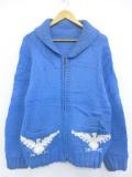 M★古着 長袖 フルジップ ニット カーディガン カウチン セーター 70年代 鳥 ショールカラー ラグラン 青 ブルー 19oct15 中古 メンズ トップス