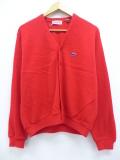 M★古着 長袖 ブランド ニット カーディガン 80年代 IZOD ラコステ ワンポイントロゴ USA製 赤 レッド 19oct16 中古 メンズ トップス