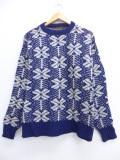 M★古着 長袖 セーター 90年代 エディーバウアー ウール クルーネック USA製 紺 ネイビー 19oct17 中古 メンズ ニット トップス