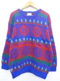 L★古着 長袖 セーター 手編み ウール クルーネック 青他 ブルー 19oct17 中古 メンズ ニット トップス