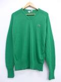 M★古着 長袖 ブランド セーター 80年代 ラコステ LACOSTE ワンポイントロゴ Vネック USA製 緑 グリーン 19oct21 中古 メンズ ニット トップス