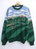 XL★古着 長袖 セーター 90年代 キャンパス ゴルフ クルーネック 緑 グリーン 【spe】 19oct21 中古 メンズ ニット トップス