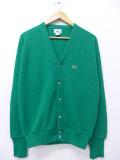 M★古着 長袖 ブランド ニット カーディガン 90年代 ラコステ LACOSTE Vネック USA製 緑 グリーン 19oct23 中古 メンズ トップス