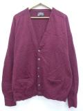XL★古着 長袖 ニット カーディガン 70年代 ピューリタン ラムウール 大きいサイズ エンジ 19oct23 中古 メンズ トップス