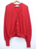 L★古着 長袖 ブランド セーター 80年代 ラコステ LACOSTE IZOD ワンポイントロゴ USA製 赤 レッド 19oct24 中古 メンズ ニット トップス