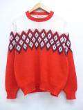 M★古着 長袖 ビンテージ セーター 60年代 クルーネック 赤他 レッド 19oct24 中古 メンズ ニット トップス
