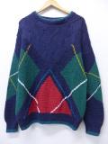 M★古着 長袖 セーター 手織り コットン クルーネック 紺 ネイビー 19oct25 中古 メンズ ニット トップス