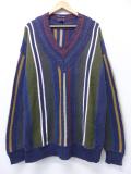 L★古着 長袖 セーター 90年代 手織り コットン クルーネック 紺他 ネイビー ストライプ 【spe】 19oct25 中古 メンズ ニット トップス