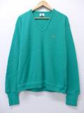 L★古着 長袖 ブランド セーター 90年代 ラコステ LACOSTE ワンポイントロゴ Vネック USA製 緑 グリーン 19oct28 中古 メンズ ニット トップス