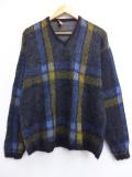 M★古着 長袖 セーター 60年代 マクレガー McGREGOR クルーネック USA製 黒 ブラック チェック 19oct29 中古 メンズ ニット トップス