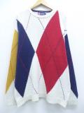 XL★古着 長袖 ブランド セーター 90年代 ラルフローレン Ralph Lauren チャップス アーガイル 手織り コットン クルーネック 白他 ホワイト 19oct31 中古 メンズ ニット トップス