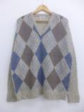 XL★古着 長袖 セーター 80年代 80s キャンパス アーガイル ウール Vネック USA製 ベージュ カーキ 19nov08 中古 メンズ ニット トップス