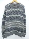 M★古着 長袖 セーター 90年代 90s ラグラン ウール クルーネック USA製 グレー他 19nov08 中古 メンズ ニット トップス