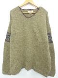 XL★古着 長袖 セーター ジェイクルー J.CREW 雪柄 手編み 大きいサイズ ウール Vネック ベージュ カーキ 19nov08 中古 メンズ ニット トップス