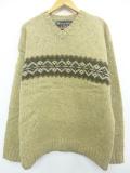 XL★古着 長袖 セーター アバクロンビー Abercrombie&fitch 大きいサイズ ウール Vネック べージュ 19nov08 中古 メンズ ニット トップス