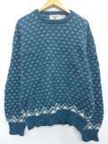 L★古着 長袖 セーター 90年代 90s バーズアイ ウール クルーネック USA製 青緑 19nov08 中古 メンズ ニット トップス