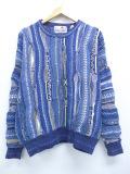 L★古着 長袖 セーター 90年代 90s 3Dニット コットン クルーネック 青 ブルー 19nov11 中古 メンズ ニット トップス